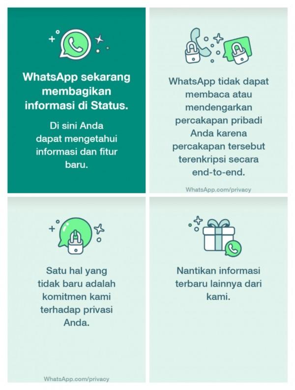 Tangkapan layar isi status WhatsApp. (Istimewa)