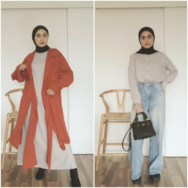 Trik one set outfit dengan padu padan busan lainnya agar lebih modis ala hijabers Alifia Diannisa. (Foto: Instagram @alfdns).
