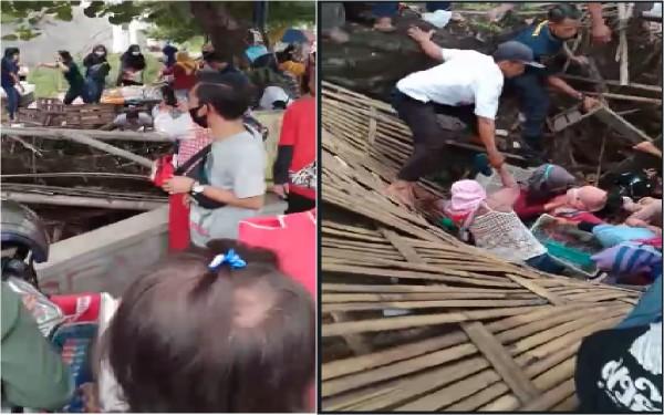 Penjual soto di atas sungai ambruk (Foto: Screenshoot)