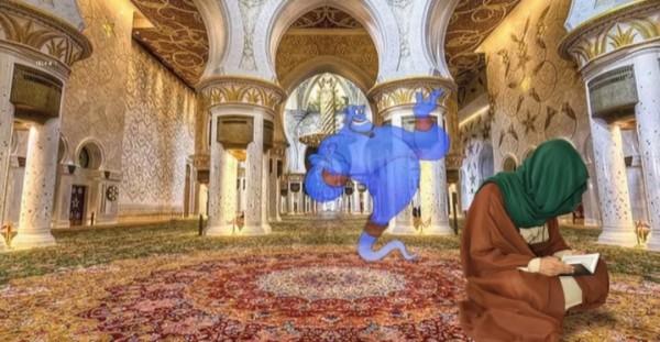 Ilustrasi seorang muslim yang beribadah dengan jin muslim (Ist)