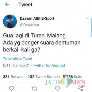 Sedang di Malang, Dzawin Nur Bagikan Cerita Saat Mendengar Dentuman Suara Misterius