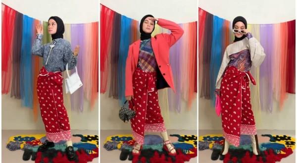 Mix and match kain jarik menjadi outfit kekinian ala Tantri Namirah. (Foto: Instagram @tantrinamirah).
