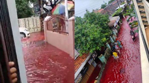 Banjir berwarna merah di Pekalongan. (Foto: Twitter/AREAJULID)