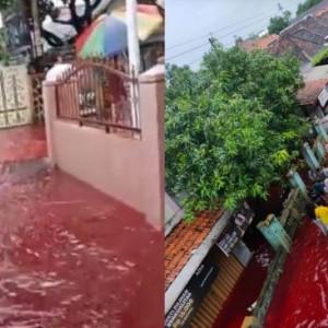 Viral Video Air Banjir Berwarna Merah Darah di Pekalongan