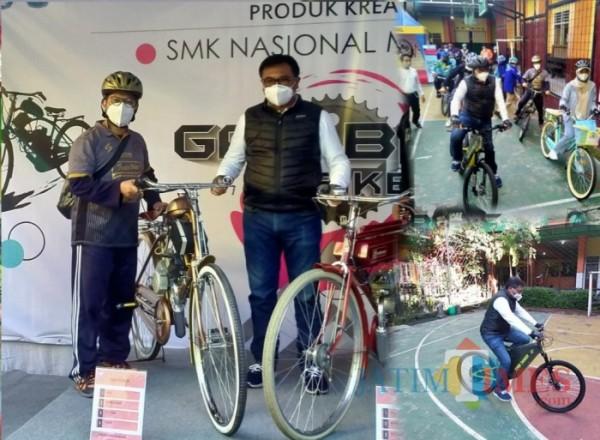 Sepeda E-Bike dan Gas Bike karya SMK Nasional Malang yang dilaunching Wakil Wali Kota Malang, Sofyan Edy Jarwoko (Anggara Sudiongko/MalangTIMES)