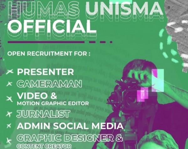 Poster pengumuman Humas Unisma yang membuka kesempatan bagi para mahasiswa berkontribusi nyata untuk kampus (foto : Instagram @unisma_malang)