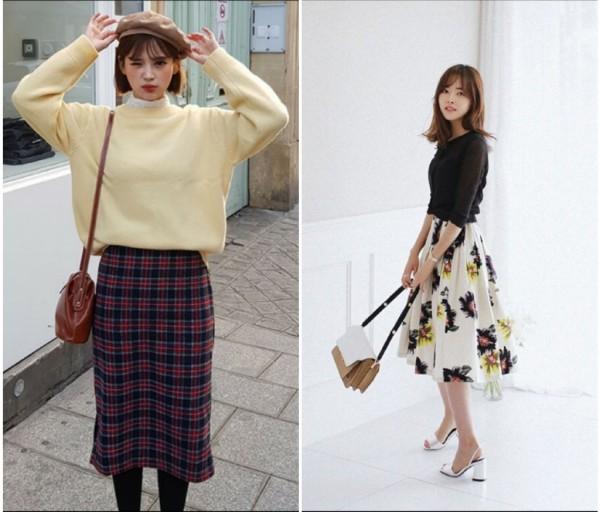 Inspirasi midi skirt ala Korean Style. (Foto: Instagram @dahongofficial).
