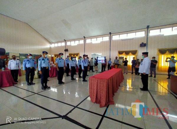 11 Satker Kemenkumham Korwil Malang yang dikumpulkan untuk melakukan deklarasi di Lapas Perempuan Klas II A Malang (Anggara Sudiongko/MalangTIMES)