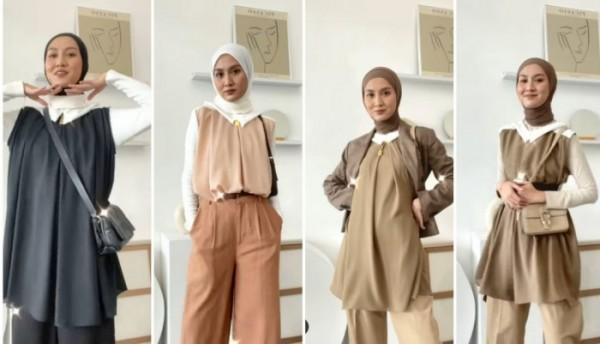 Inspirasi outfit busana tanpa lengan buat hijabers. (Foto: Instagram @inasrana).