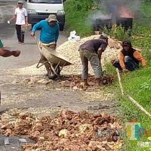 Tak Kunjung Diperbaiki, Warga Bangkalan Swadaya Perbaiki Jalan Penghubung Kecamatan