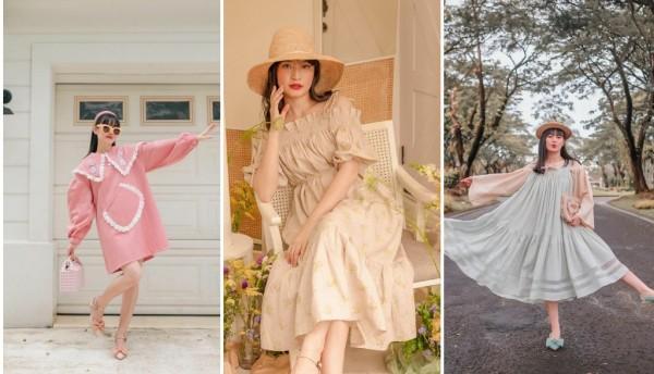 Inspirasi outfit vintage dress ala selengran Vanessa Andrea. (Foto: Instagram @cherrydreamy).
