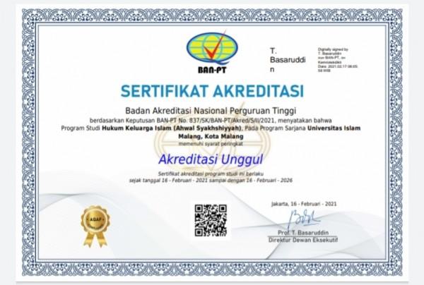 Sertifikat Akreditasi dari Prodi Hukum Keluarga Islam dengan grade Akreditasi Unggul (Ist)