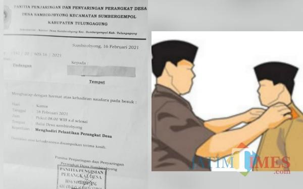 Surat Undangan Pelantikan Perangkat Desa Sambirobyong / Foto : Istimewa / Tulungagung TIMES