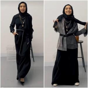 Sulap Black Ruffle Long Dress Jadi 2 OOTD yang Berbeda, Intip Inspirasi ini Yuk!