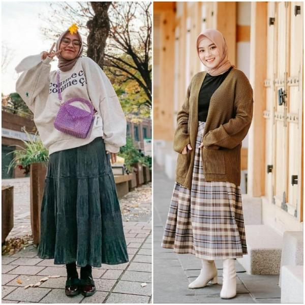 Inspirasi outfit musim dingin dengan menggunakan rok ala selebgram Bianca Kartika. (Foto: Instagram @biancakartika).