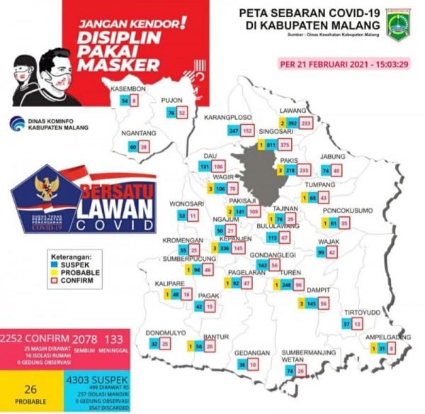 Peta sebaran kasus covid-19 di Kabupaten Malang periode 21 Februari 2021. (Foto: Istimewa)
