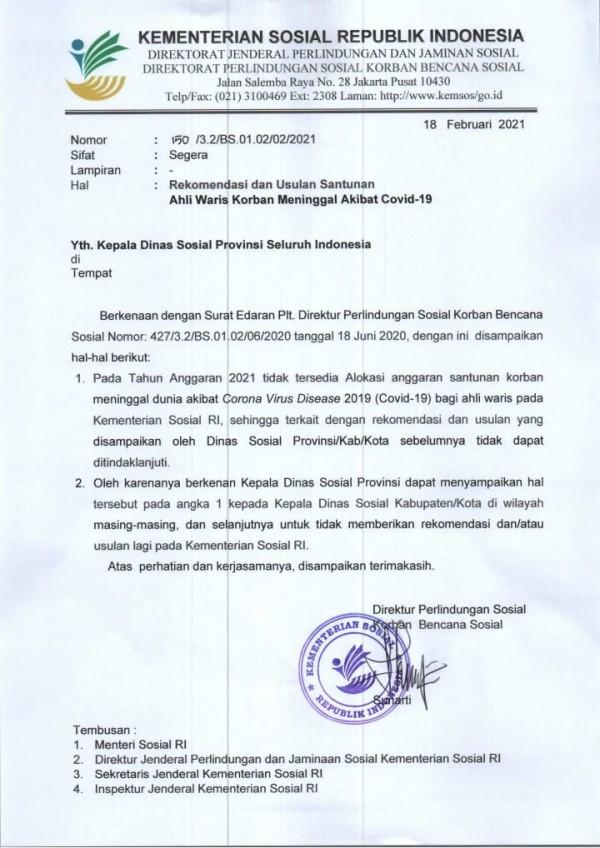 Surat dari Kemensos terkait kompensasi bagi pasien Covid-19 (ist)