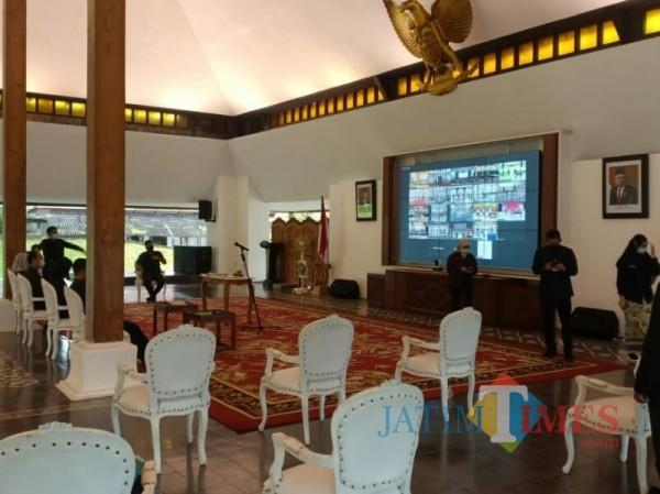 Gladi pelantikan pasangan bupati-wakil bupati Banyuwangi tahun 2021-2024 di Pendapa Sabha Swagatha Blambangan Banyuwangi. (Foto: Nurhadi/BanyuwangiTIMES)