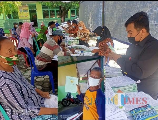 Sertifikat diserahkan pihak Kelurahan Kandangan kepada warga yang menerima di halaman balai desa setempat