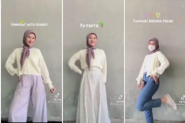 Inspirasi penakaian cardigan menjadi 3 outfit berbeda. (Foto: Instgram @indonesianlookbook).