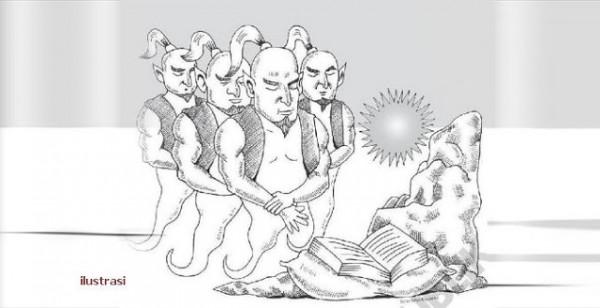 Ilustrasi rombongan jin yang kemudian masuk Islam (foundationdotblogspotdotcom)