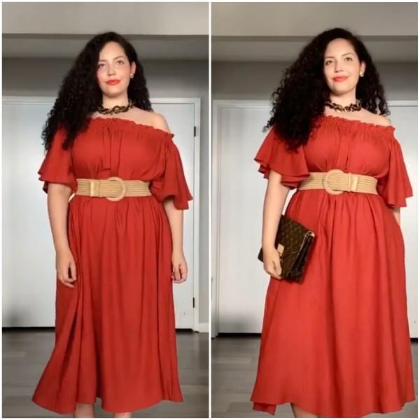 Styling dress polos menjadi oytfit yang lebih modis. (Foto: Instagram @girlwithcurves).