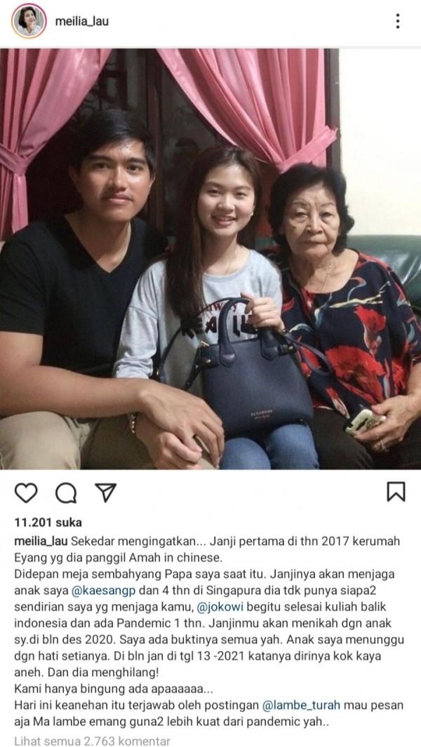 Ungkapan Ibunda Felicia di media sosial (Ist)