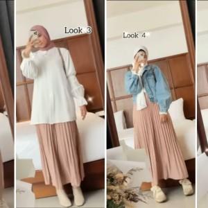 Tips Memilih Padu Padan Outfit yang Cocok dengan Pleated Nude Pink Skirt ala Hijabers
