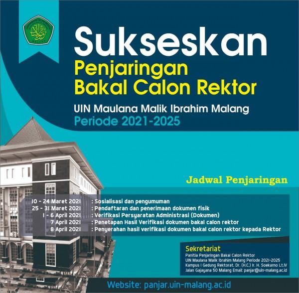 Penjaringan bakal calon Rektor UIN MALIKI Malang periode 2021-2025 (Ist)