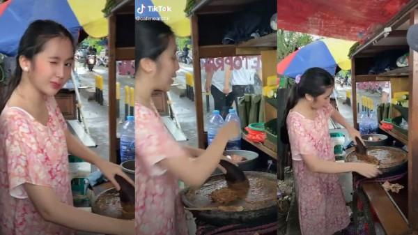 Penjual cilok cantik (Foto: TikTok @callmearchii)