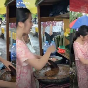 Viral Penjual Gado-Gado Cantik, Jago Ngulek Sambil Kedipin Mata