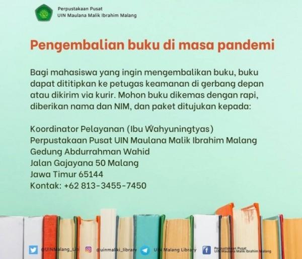 Pengumuman layanan pengembalian buku selama pandemi di UIN Malang (uinmaliki_library)