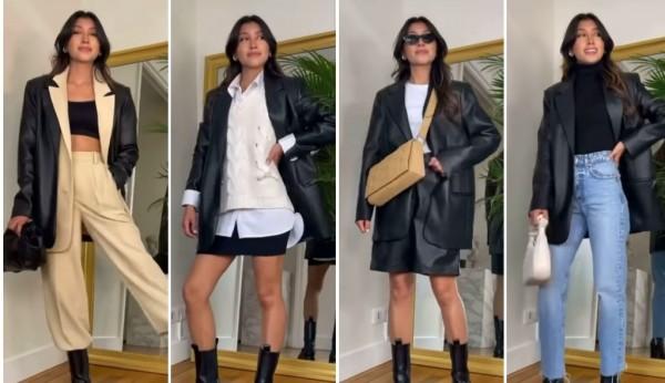 Inspirasi berbagai outfit dengan Leather Blazer. (Foto: Instagram @fustany).
