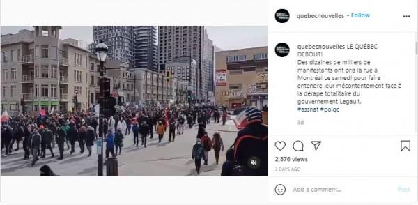 Warga Montreal, Quebec, Kanada demo tolak lockdown hingga vaksin (Foto: Instagram quebecnouvelles)