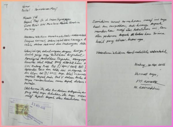 Foto surat permohonan maaf yang ditandatangani atas nama Zainudin dan ditujukan kepada Prof Dr H Imam Suprayogo (Ist)