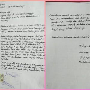 Beredar di Whatsapp, Foto Surat Permohonan Maaf  WR 1 UIN Malang ke Prof Imam Suprayogo