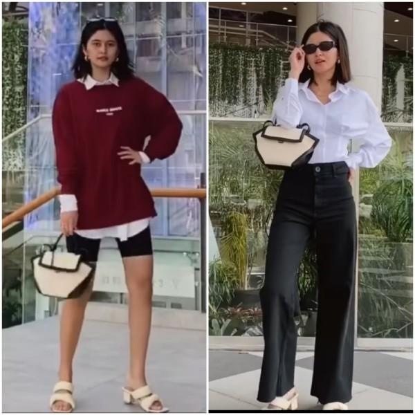 Mix and match shirt dress menjadi berbagai outfit santai. (Foto: Instagram @namiraadzani).