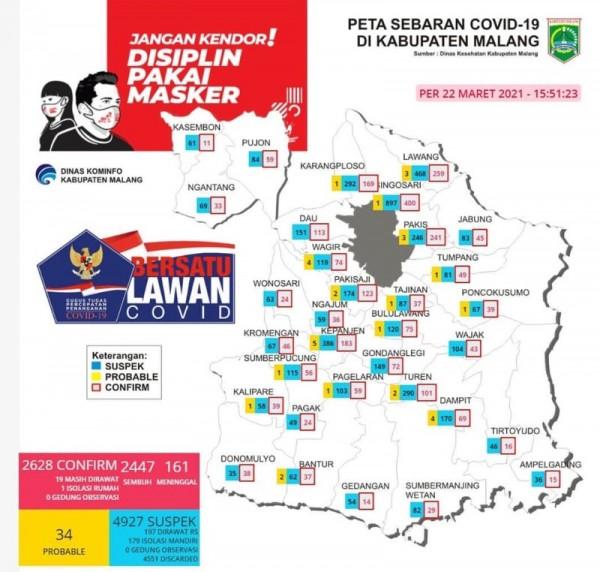 Peta sebaran covid-19 di Kabupaten Malang periode 22 Maret 2021. (Foto: istimewa)