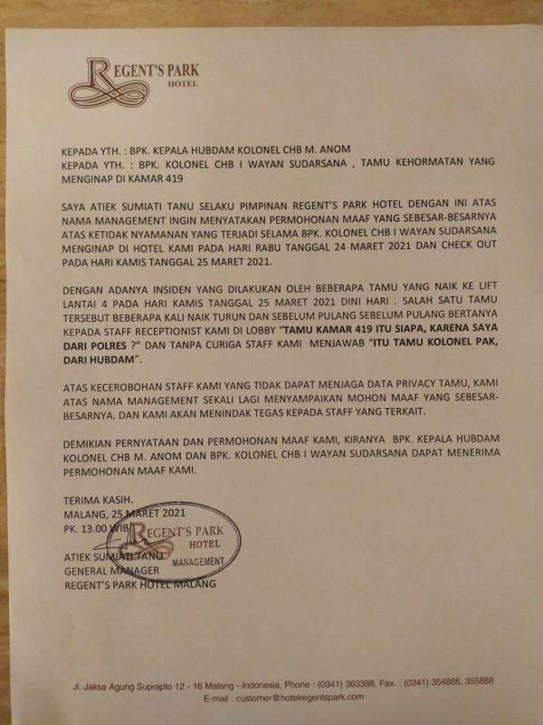 Surat permohonan maaf dari Regent's Park Hotel kepada anggota TNI (foto: istimewa)