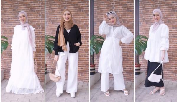 Inspirasi busana warna putih untuk berbagai aktivitas ala hijabers. (Foto: Instagram @sin.sr).