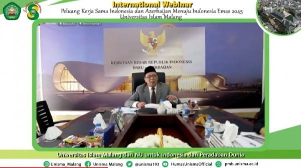 Duta Besar Azerbaijan, Hildi Hamid yang melakukan webinar Internasional dengan Unisma (Ist)