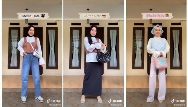 Inspirasi outfit untuk date bareng pasangan. (Foto: Instagram @tipsootd.hijabstyle).