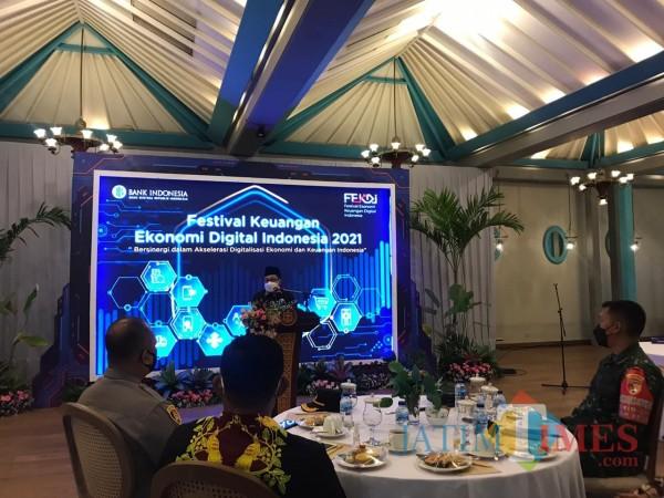Suasana Festival Ekonomi Keuangan Digital Indonesia (FEKDI) di Hotel Tugu Malang, Senin (5/4/2021). (Arifina Cahyanti Firdausi/MalangTIMES).