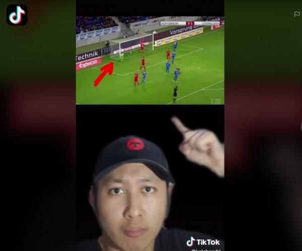 Gol hantu di Liga Eropa. (Foto: TikTok @kalebandri)