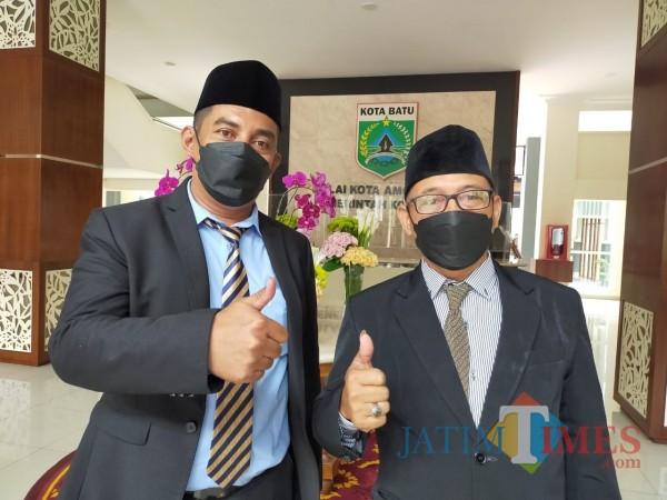 Ketua Dewan Koperasi Indonesia Daerah Kota Batu Ir Parkidi, bersama Suwito, S.H bidang advokasi Dekopinda Kota Batu