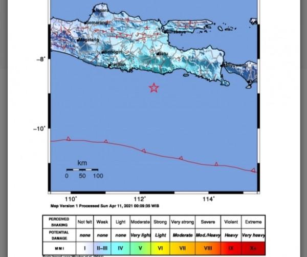 Gambaran lokasi pusat titik gempa (Ist)