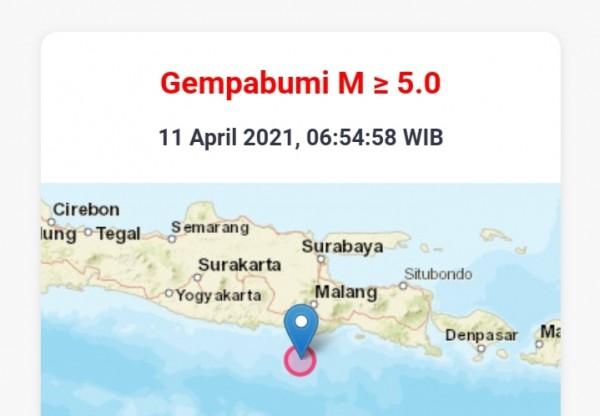 Lokasi titik pusat gempa di Kabupaten Malang (Ist)