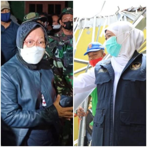 Mensos Tri Rismaharini dan Gubernur Jatim Khofifah Indar Parawansa