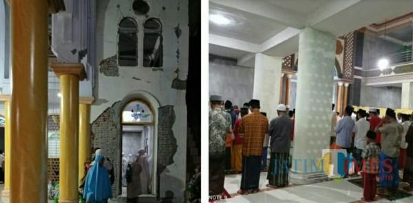 Warga tetap sholat tarawih, foto kiri sebagian dinding masjid yang retak (Foto : LPBI-NU /Jatim TIMES)