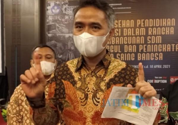 Direktur Jenderal Pendidikan Vokasi (Dirjen Diksi) Wikan Sakarinto saat ditemui di Hotel Harris Malang beberapa waktu lalu (Anggara Sudiongko/MalangTIMES)